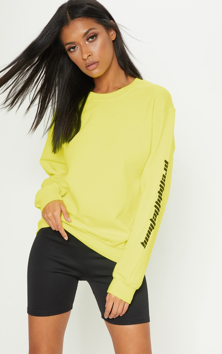 PRETTYLITTLETHING Lime Slogan Sweater 1
