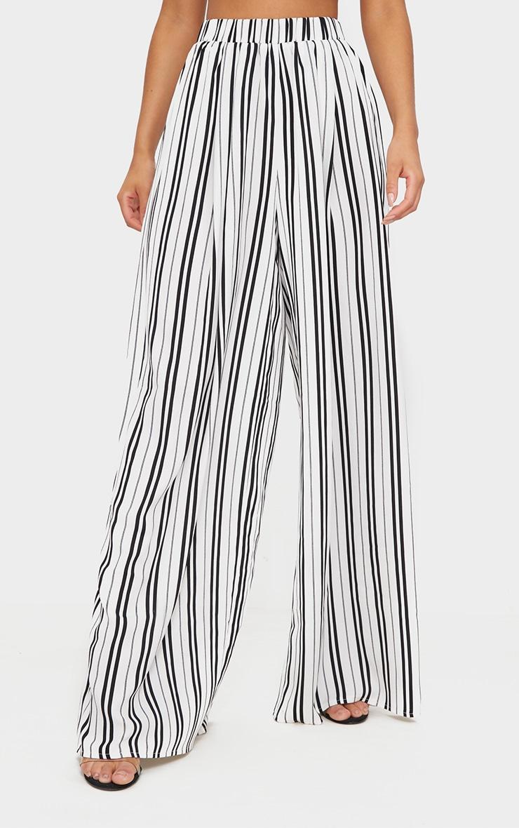 White Formal Stripe Wide Leg Trouser  2