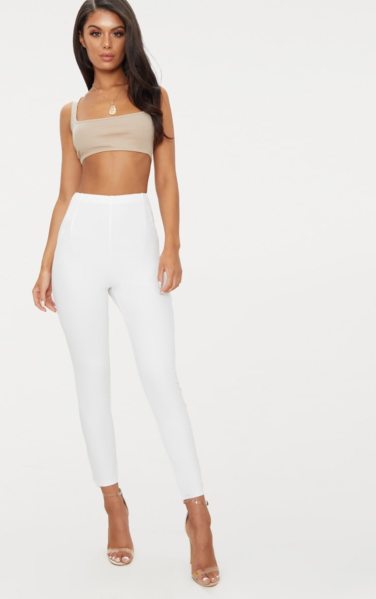 White High Waisted Pleat Front Detail Pants 1