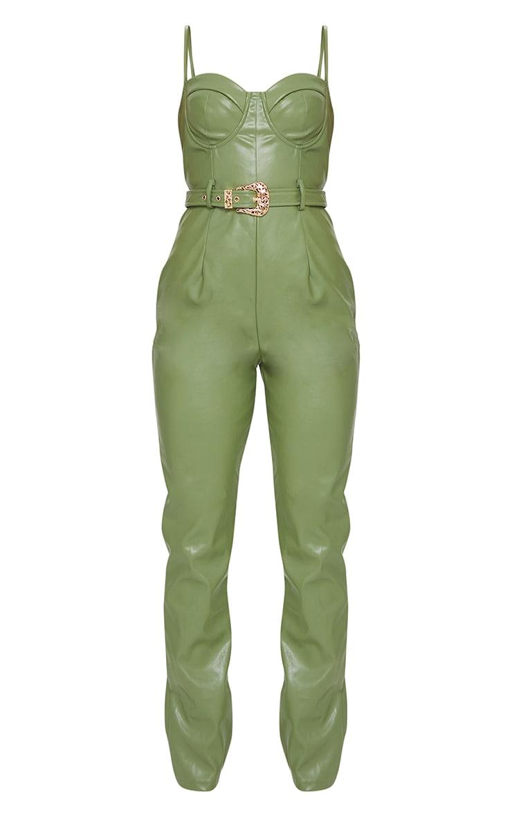 Khaki PU Cup Detail Belted Jumpsuit 5