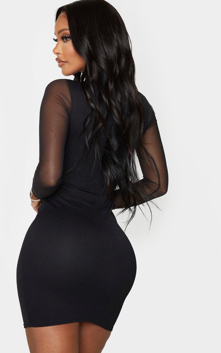 Shape Black Crepe Mesh Sleeve Bodycon Dress 2