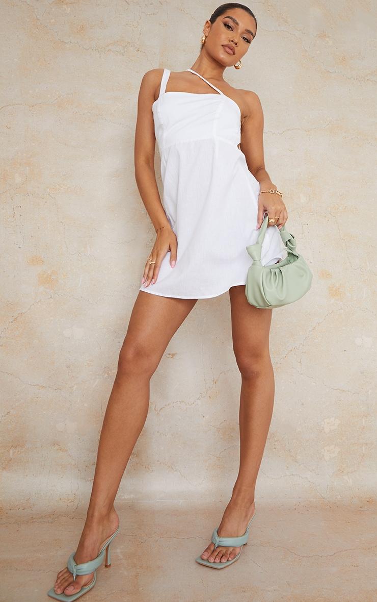 White Linen Look Multi Strap Square Neck Shift Dress 3