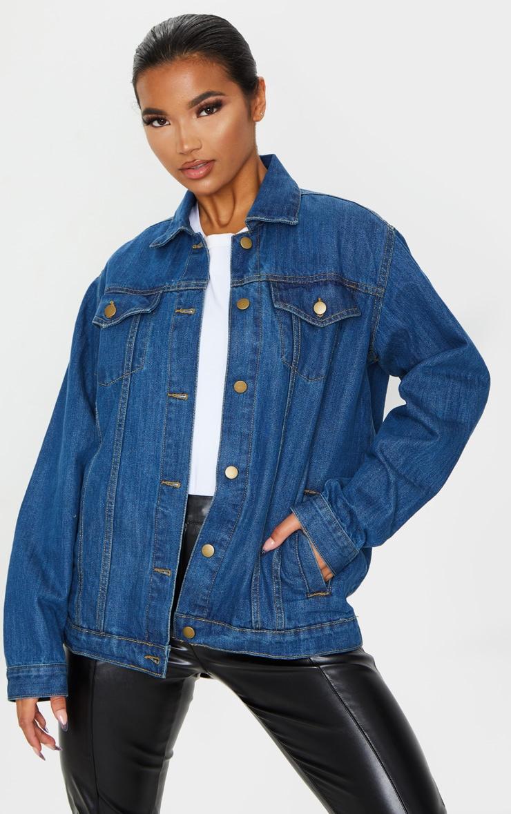 Dark Blue Wash Oversized Boyfriend Denim Jacket 1