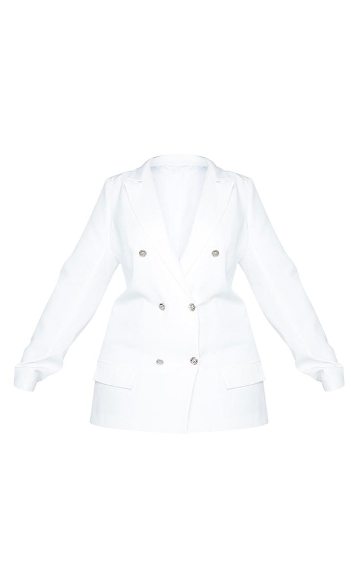 Plus White Oversized Button Detail Blazer 5