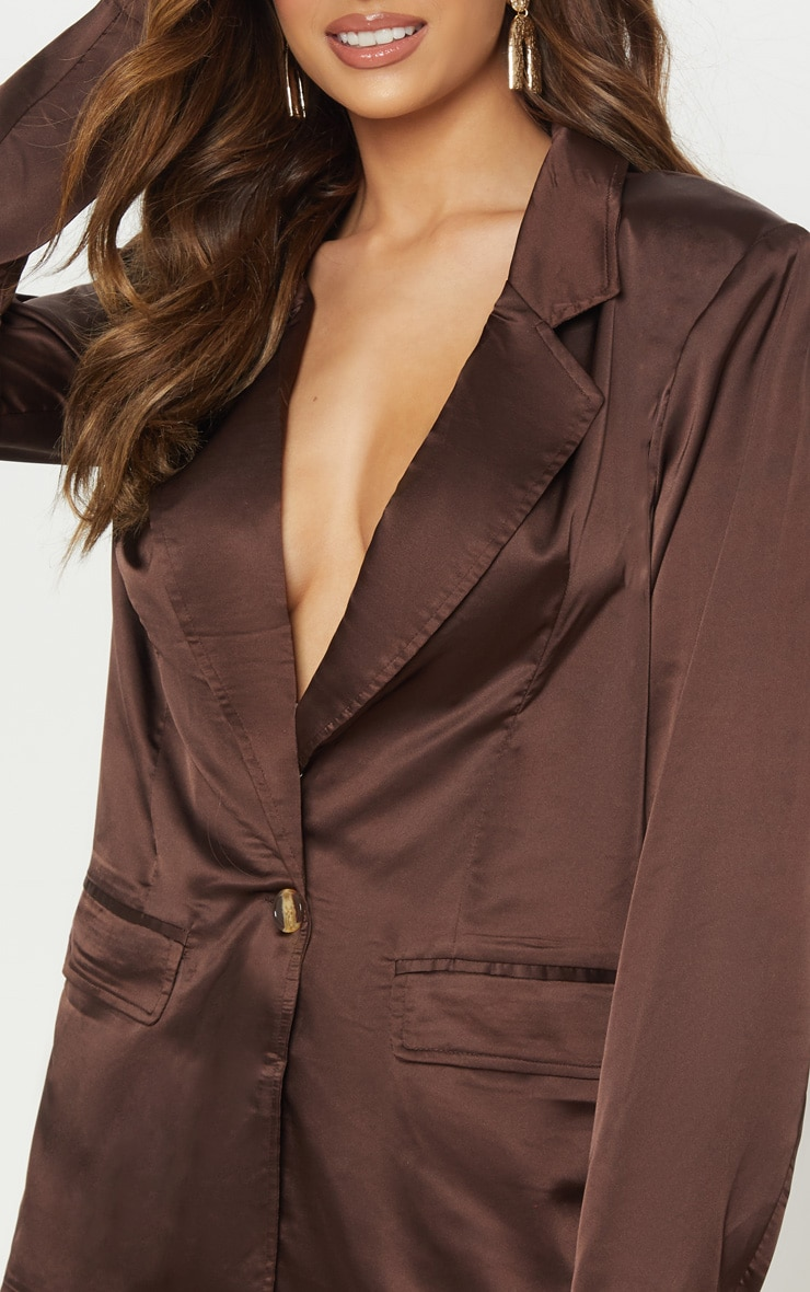 Chocolate Satin Oversized Blazer  5