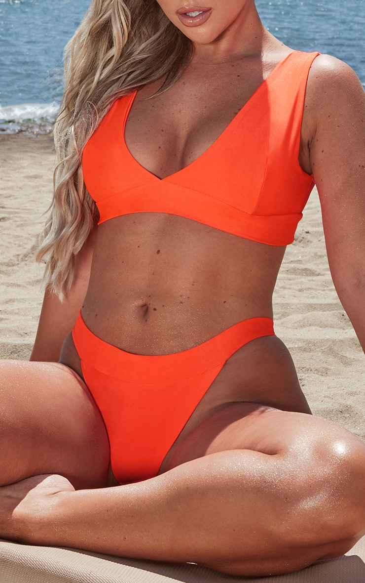 Neon Orange High Rise Bikini Bottoms 1