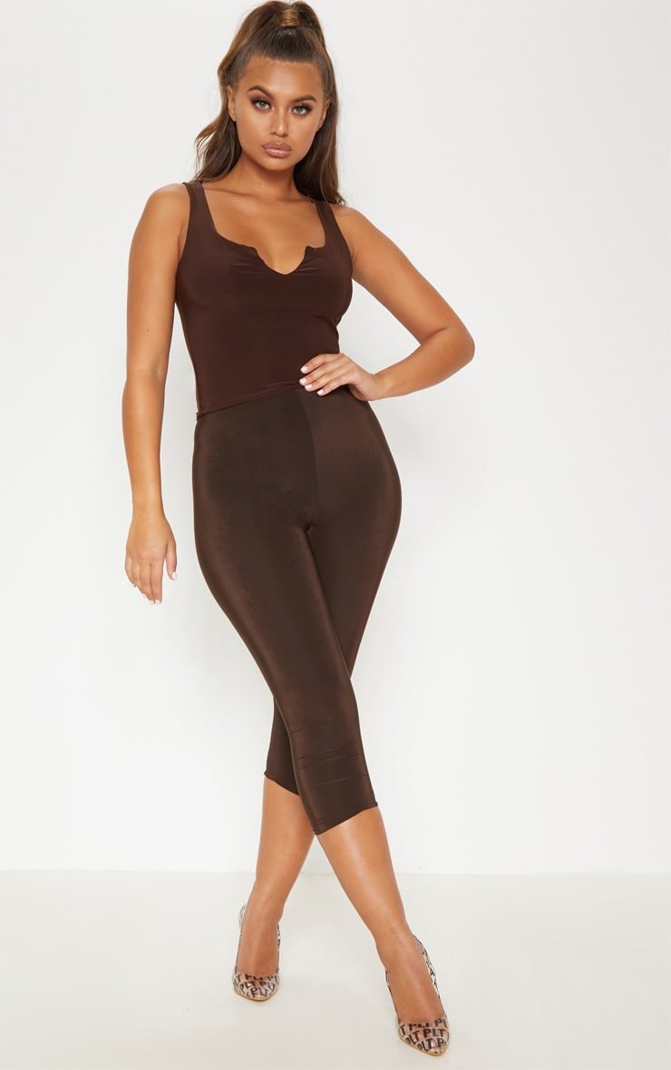 Chocolate Slinky V Neck Vest Top 4