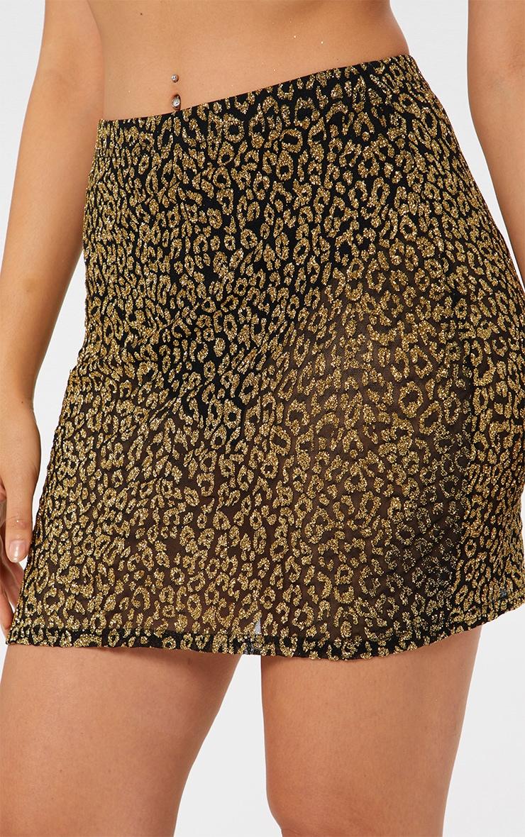 Gold Glitter Leopard Print Mini Skirt 6