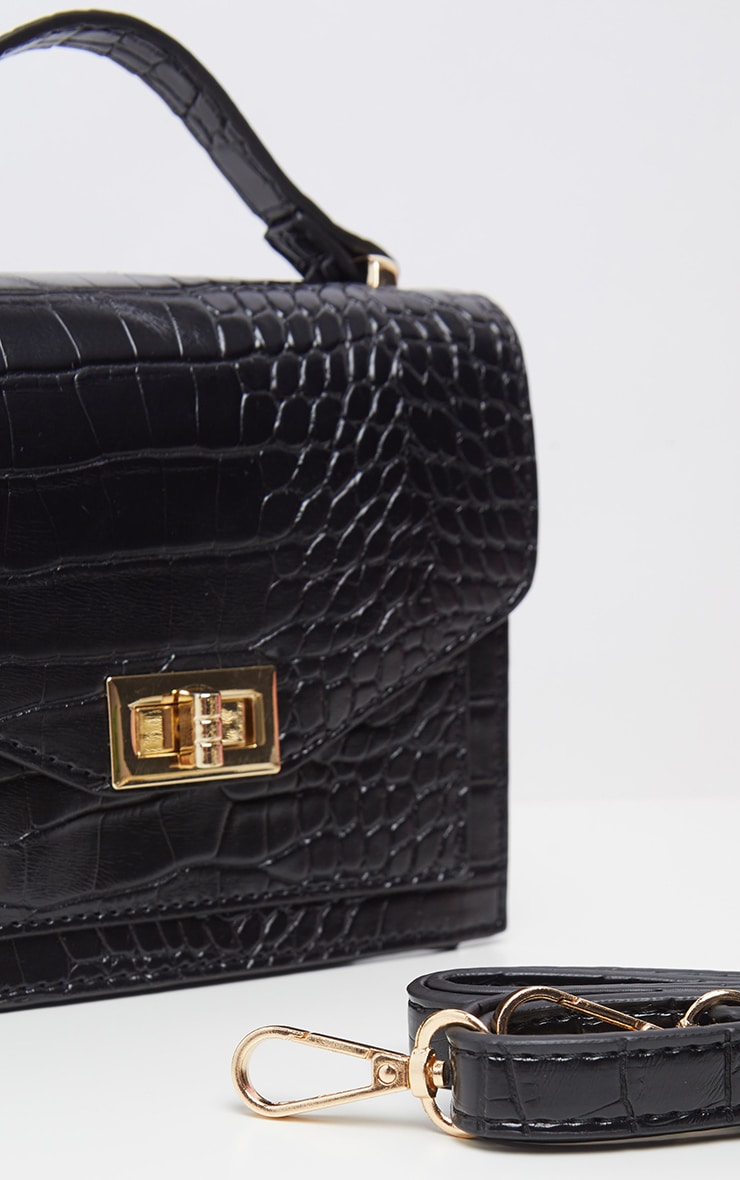 Black Croc Cross Body Bag 4