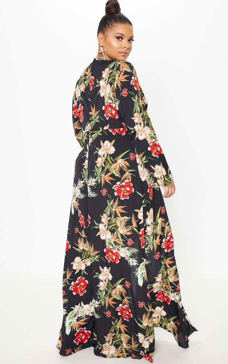 Plus Black Floral Twist Front Maxi Dress 2