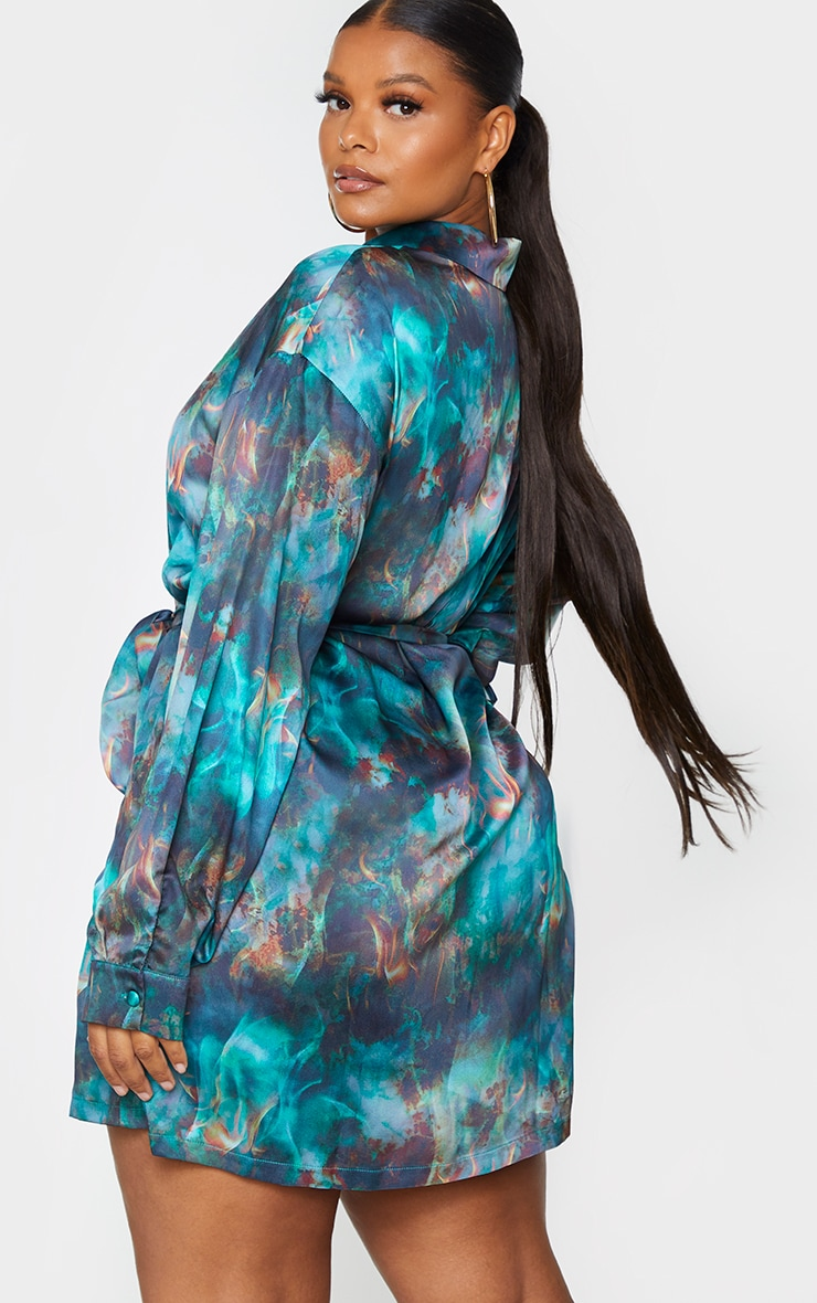 Plus Green Flame Tie Dye Printed Tie Waist Shirt Dress 2