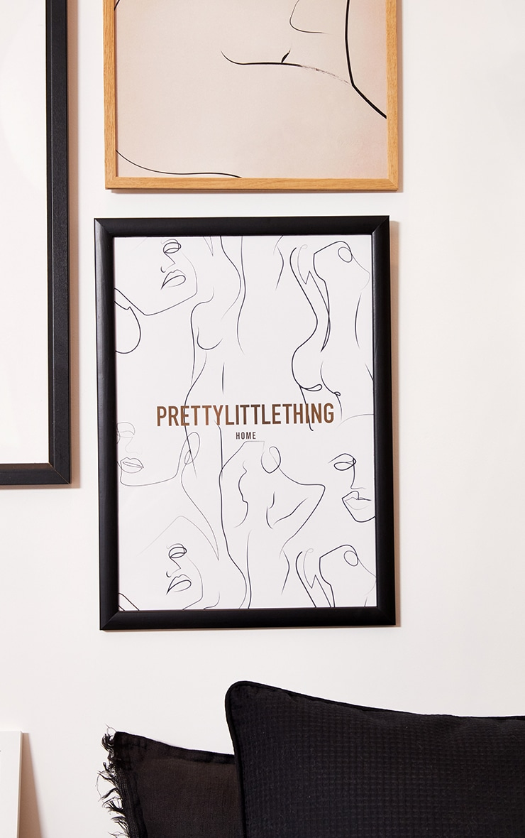 PRETTYLITTLETHING Gold A3 Abstract Body Print 1