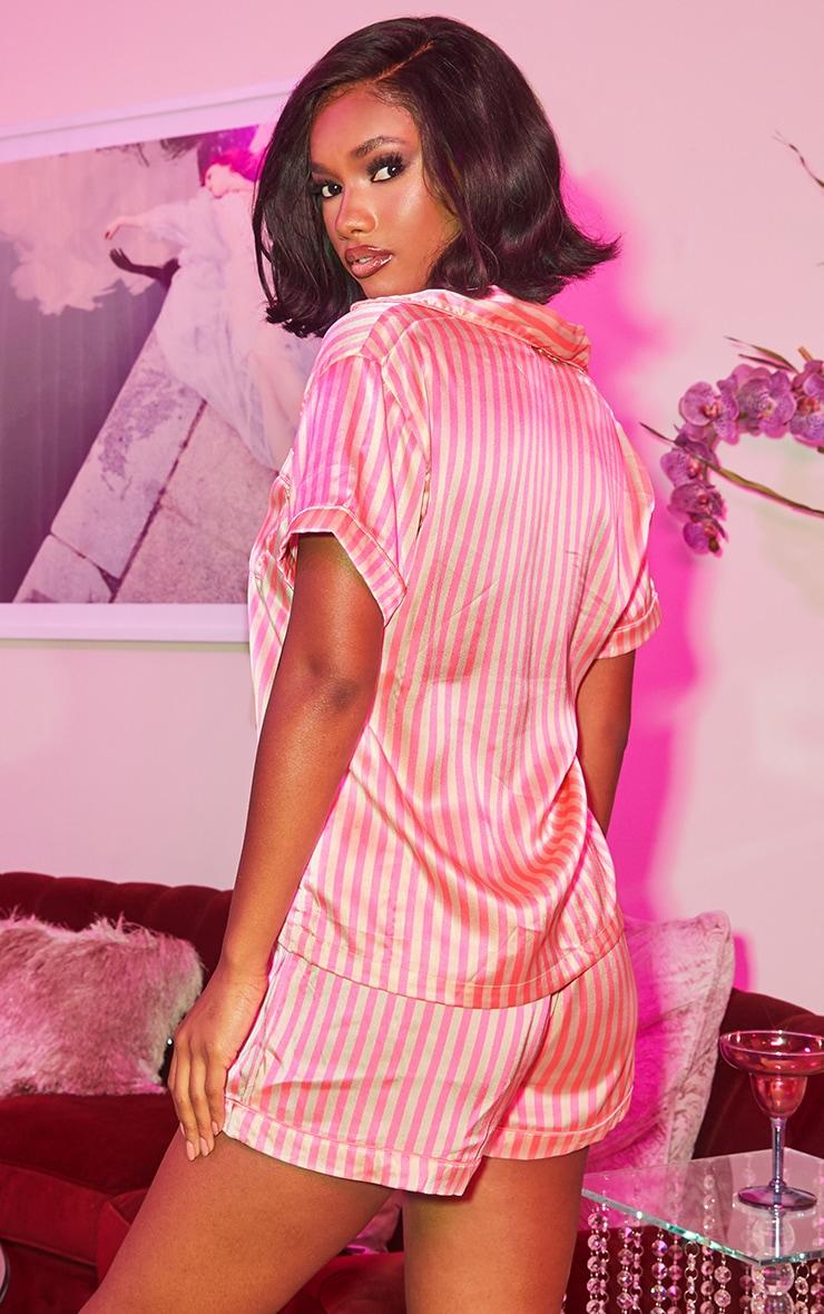 Pink Stripe Button Up Short PJ Set 2