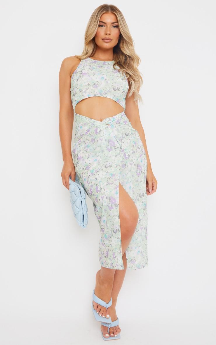 Cream Floral Print Cut Out Twist Detail Midi Dress 1