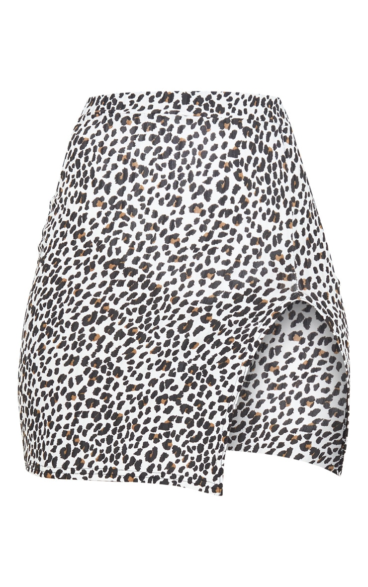 White Leopard Print Rib Split Front Mini Skirt 3
