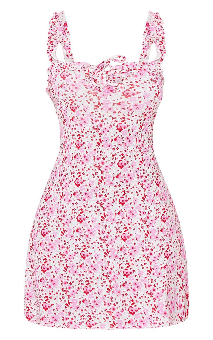 Pink Ditsy Print Frill Detail Shift Dress 5