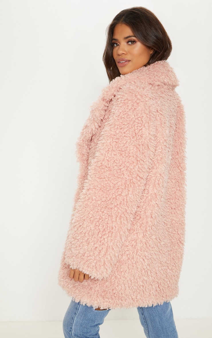 Pink Teddy Faux Fur Coat   2