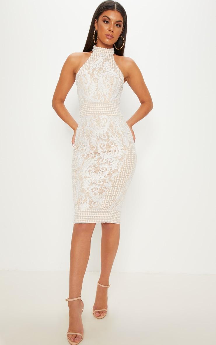 White Lace Crochet High Neck Midi Dress 2