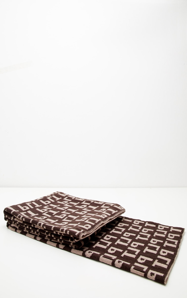 PRETTYLITTLETHING Brown Monogram Scarf 2