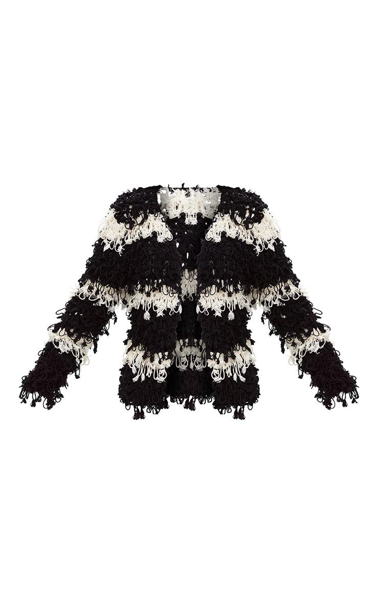 Black Loopy Knit Stripe Cardigan 3