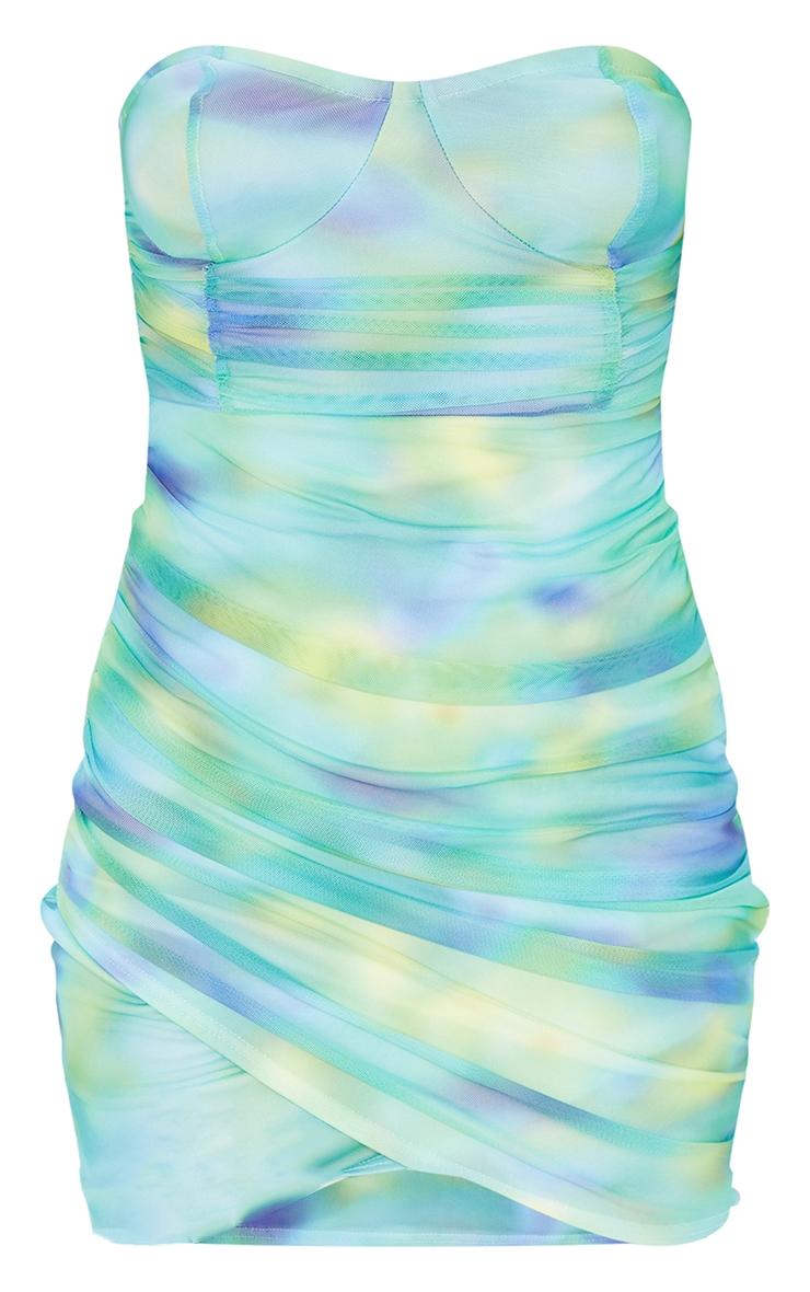 Robe moulante bandeau imprimé abstrait vert froncée 5