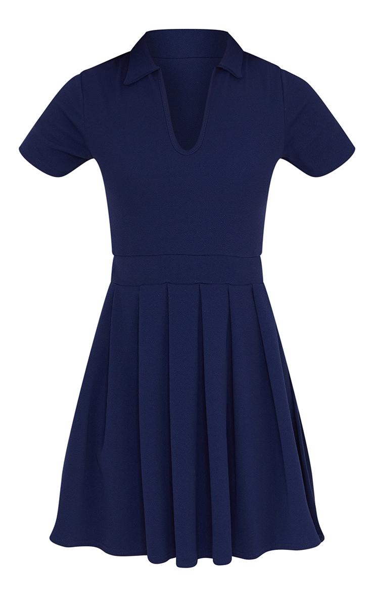 Navy Pleated Side Split Tennis Skirt Shift Dress 5