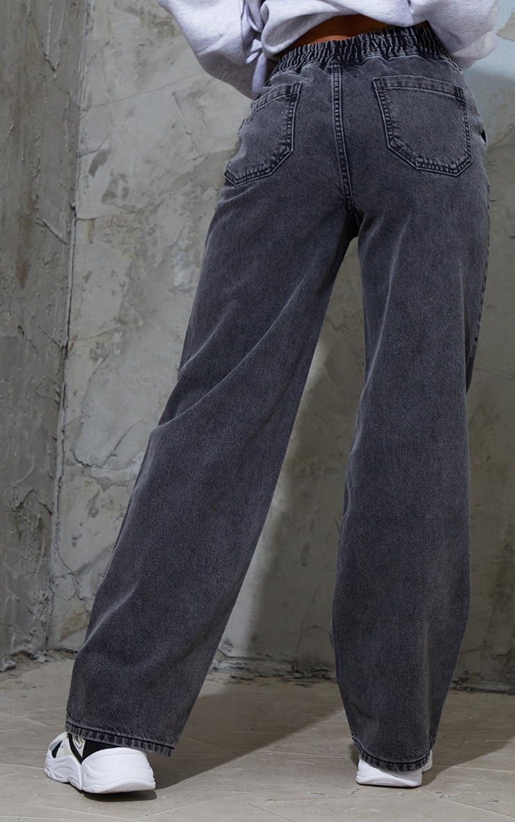 Washed Black Split Knee Wide Leg Jogger Jeans 3