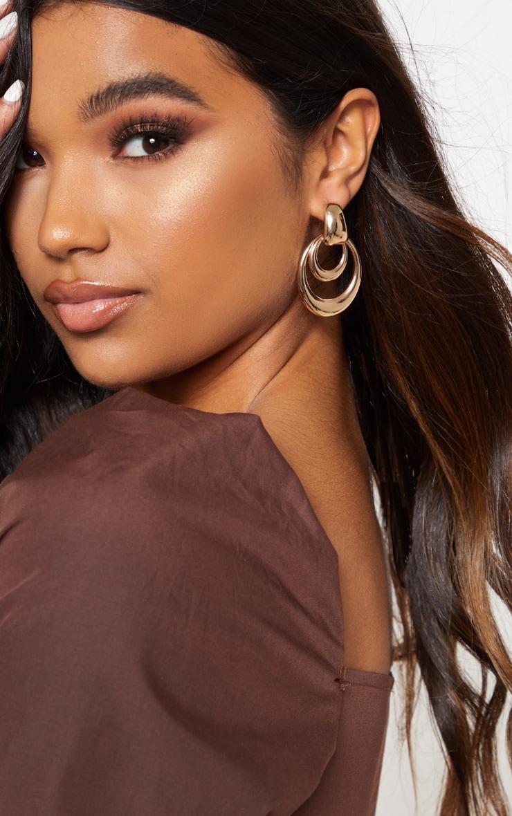 Boucle d'oreilles double ovales pendantes 1