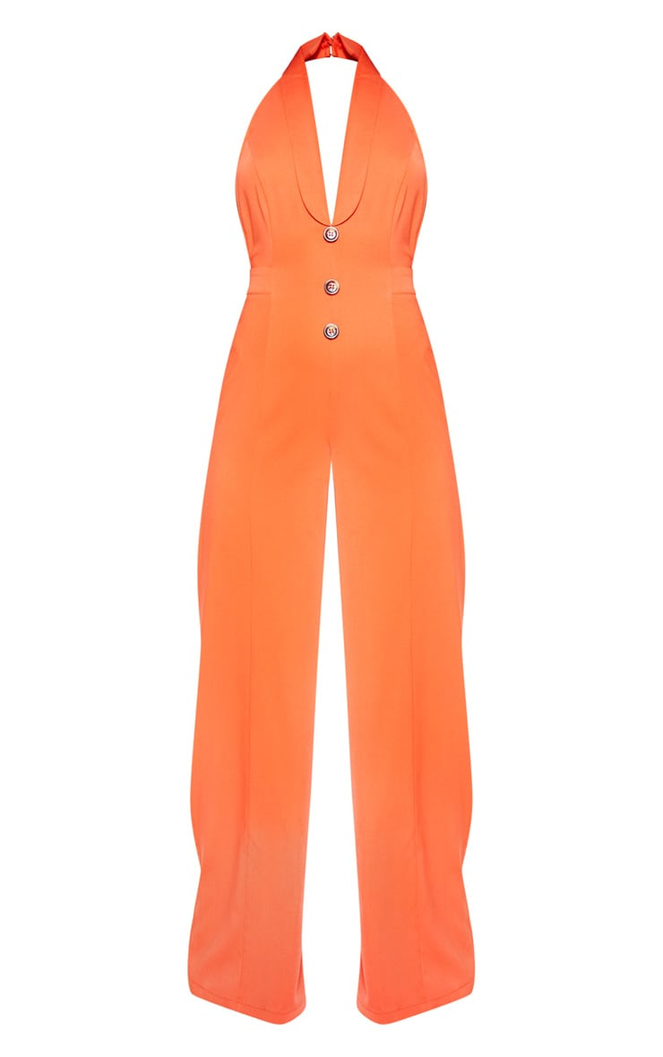 Bright Orange Halterneck Lapel Detail Jumpsuit 3