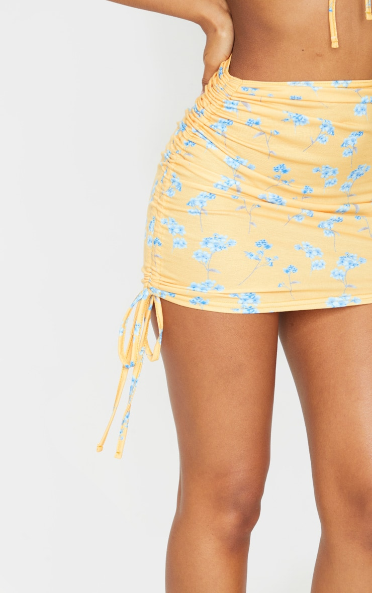 Mustard Printed Jersey Ruched Tie Side Mini Skirt 5