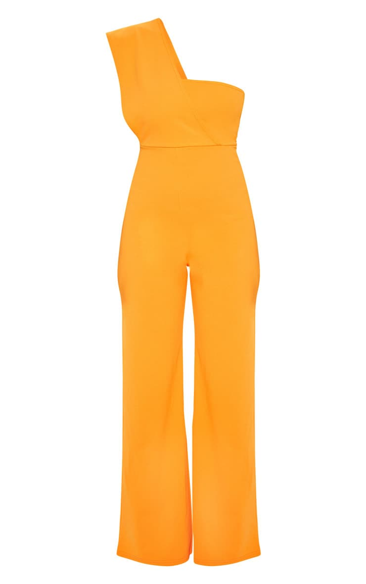 Petite Orange Drape One Shoulder Jumpsuit 3