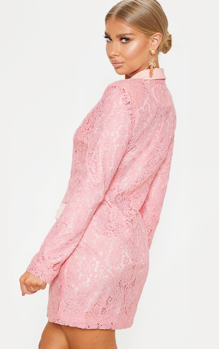 Dusty Pink Lace Gold Button Blazer Dress 2