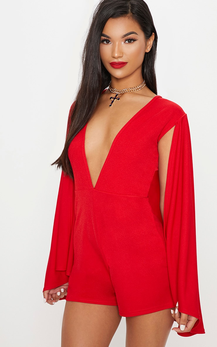 84ce185181 Red Crepe Cape Playsuit image 1