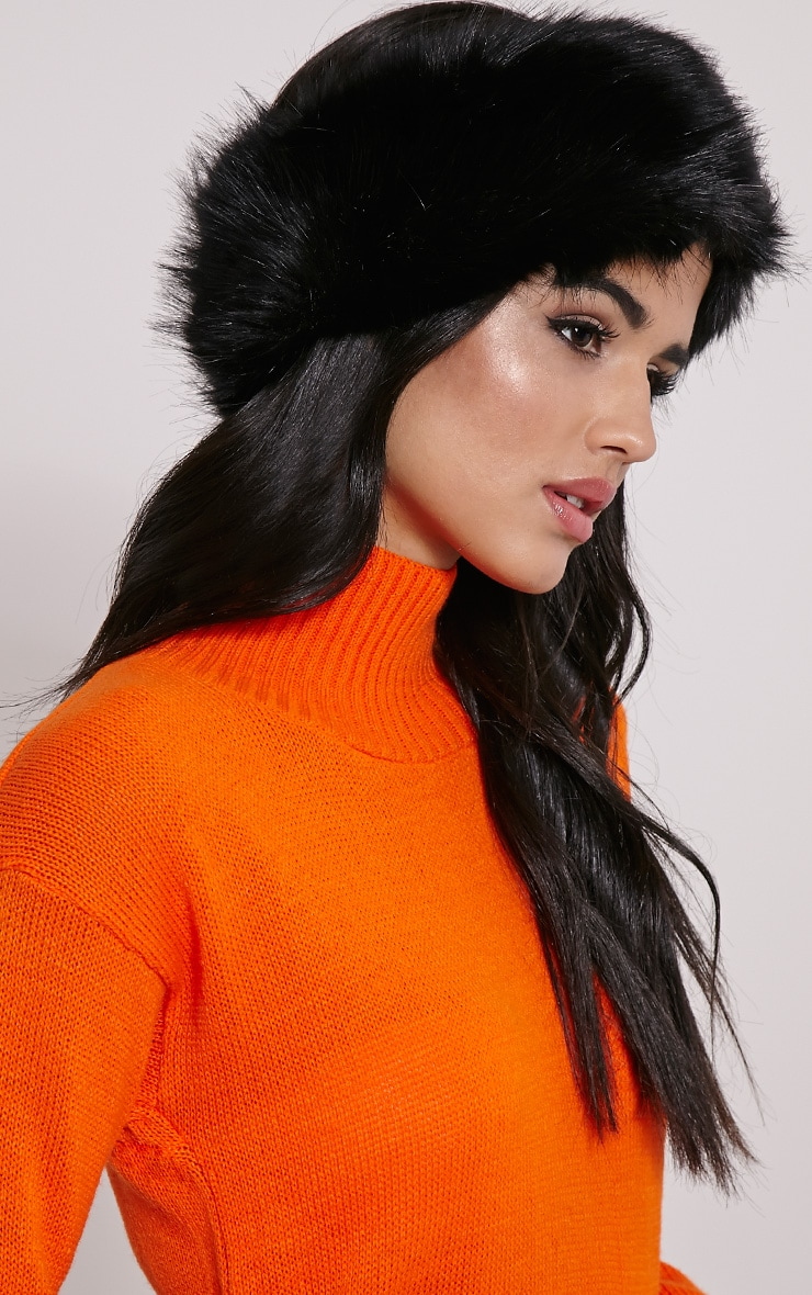 Harrie Black Faux Fur Headband 2