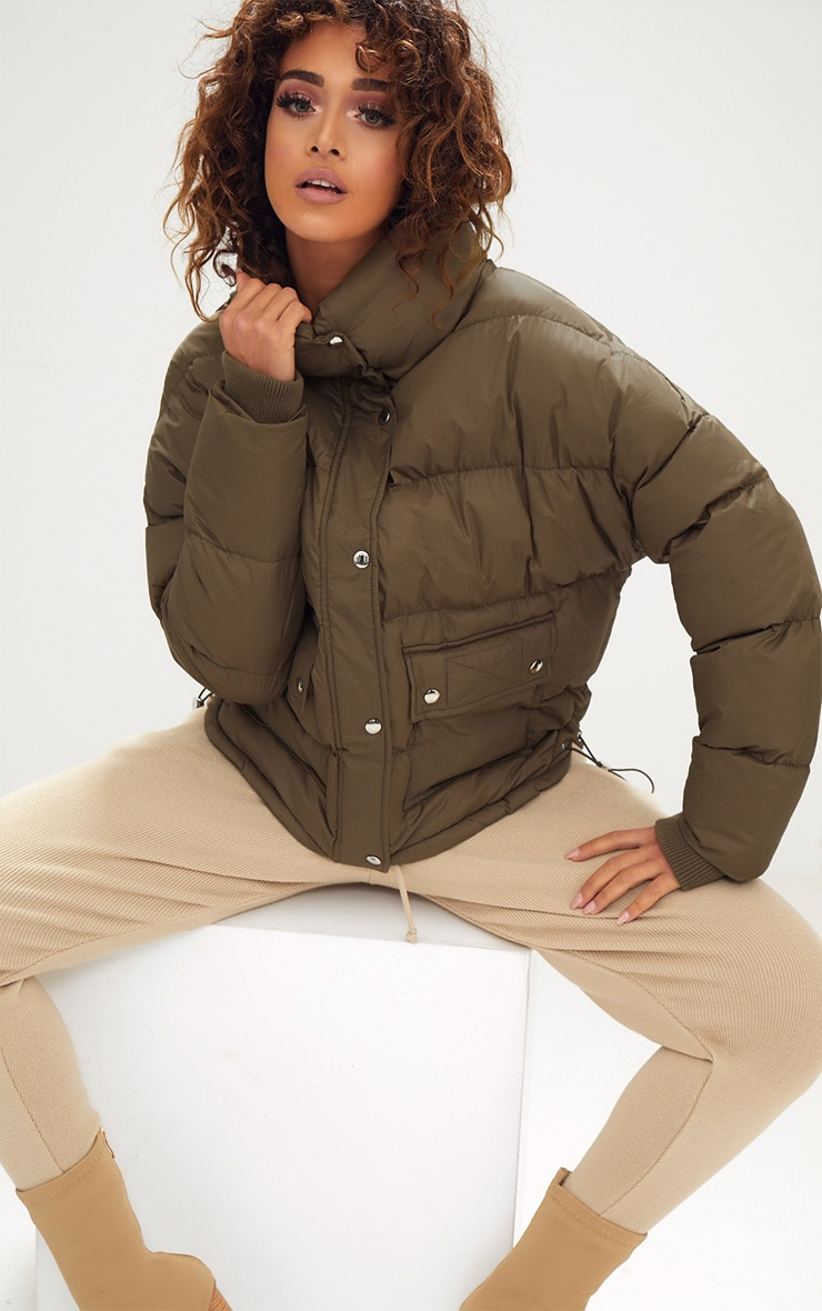 Khaki Oversized Puffer Jacket with Button Pockets 1