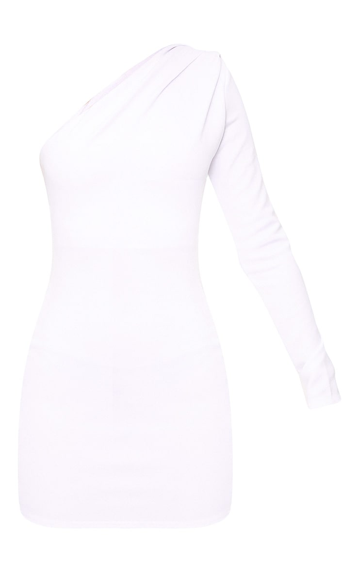 White One Shoulder Ruched Bodycon Dress  3