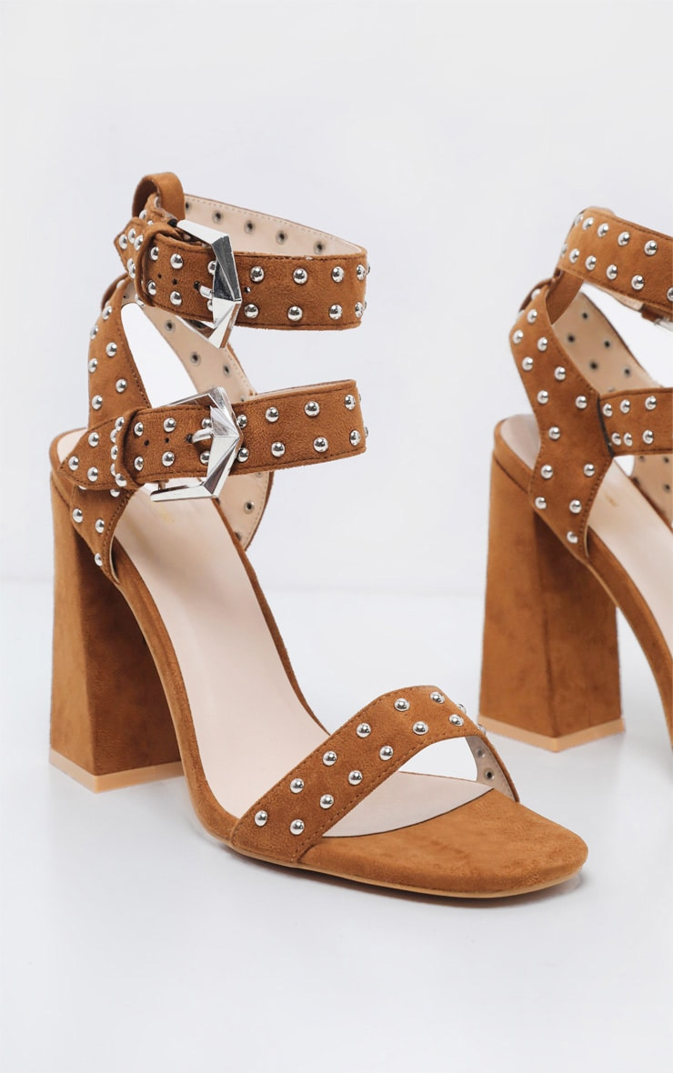 Tan Buckle Detail Studded Block Heel Sandal 3