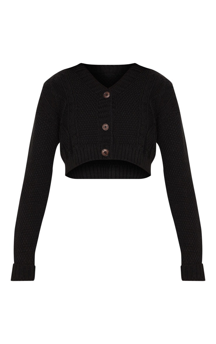 Black Cable Cropped Cardigan 5