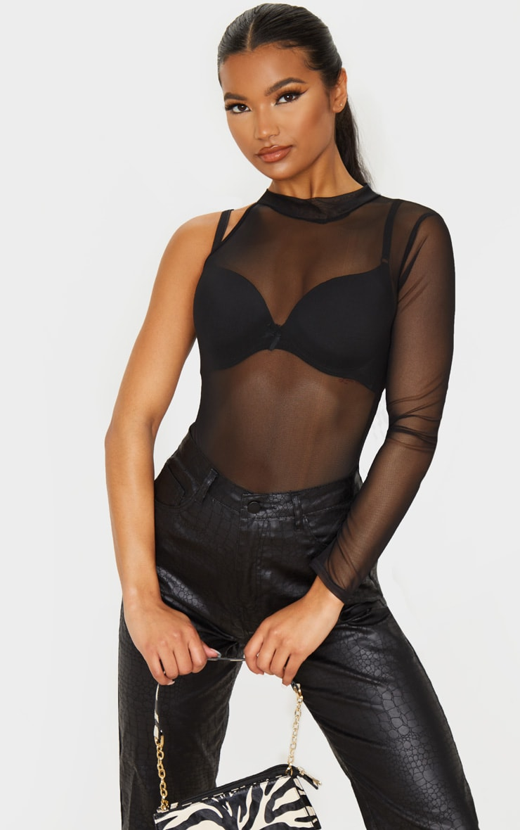Black Mesh One Shoulder Bodysuit