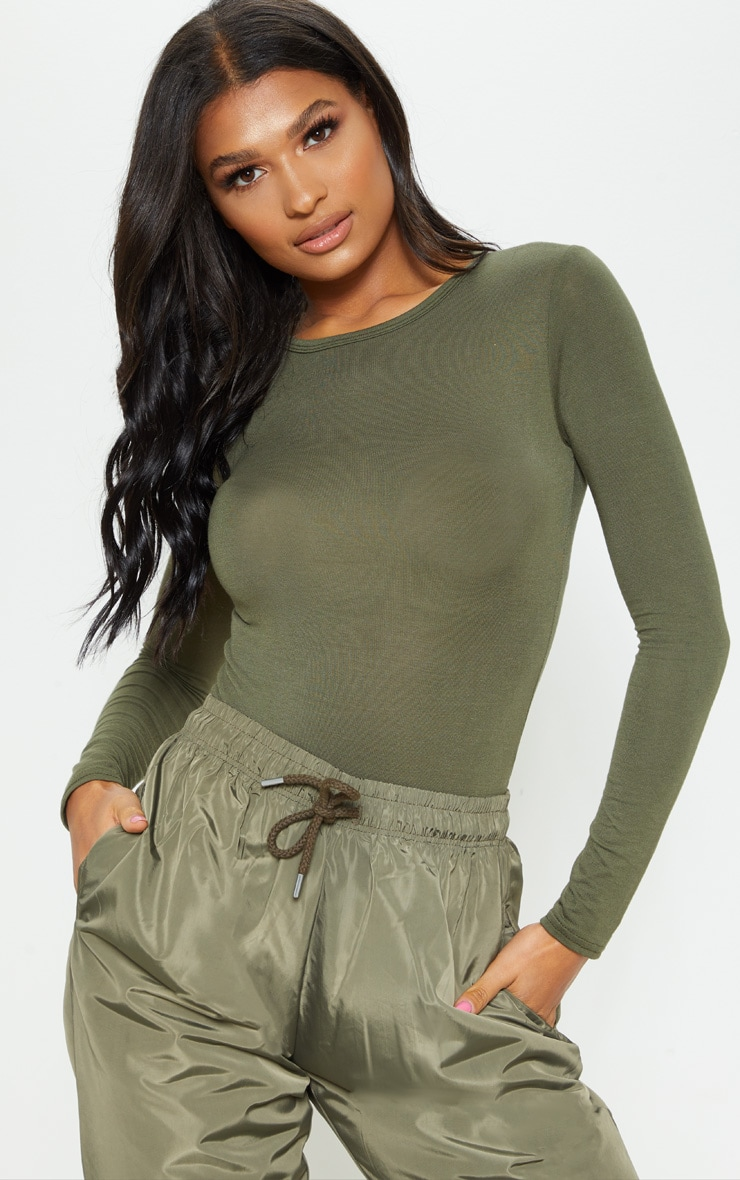 basic khaki longsleeve fitted t shirt