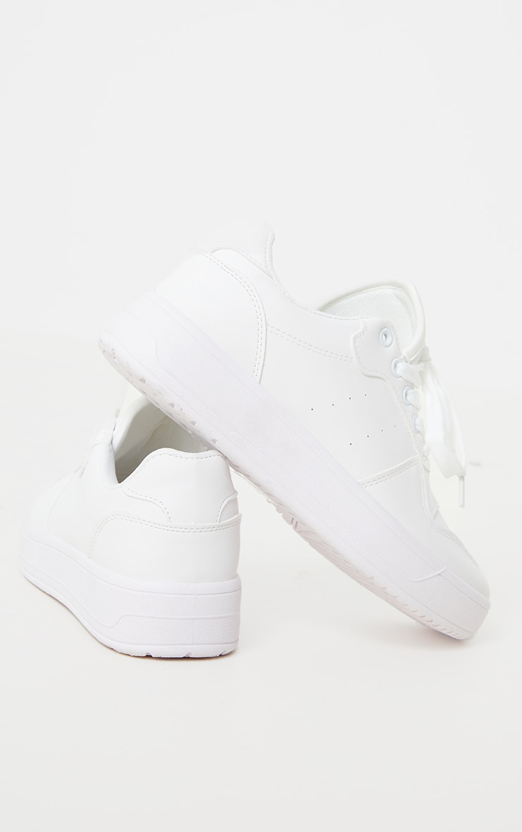 White Lace Up Sports Low Top Trainers 4
