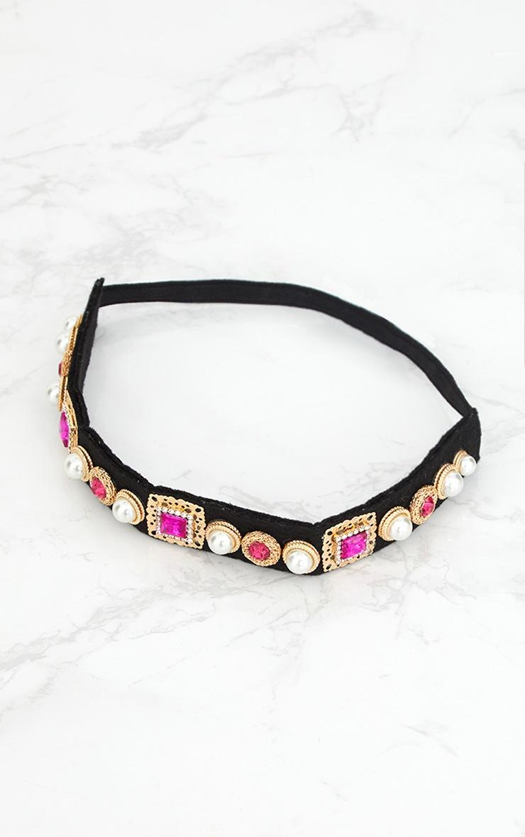 Pink Embellished Elastic Headband 3