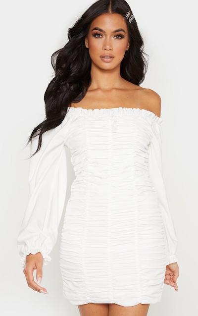 White Balloon Sleeve Ruched Bardot Bodycon Dress