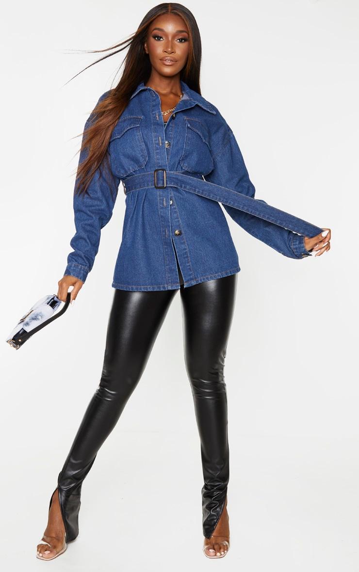 Veste longue oversize en jean délavé bleu foncé 1