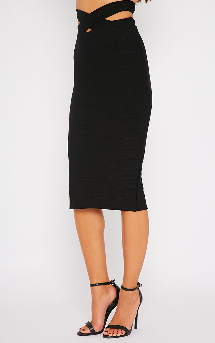 Jaimie Black Cut Out Bandage Midi Skirt 4