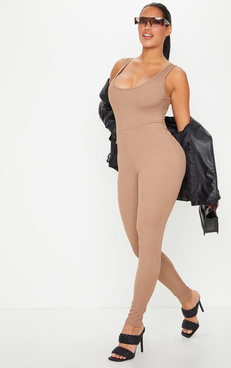 Shape Mocha Ribbed Scoop Neck Jumpsuit 3