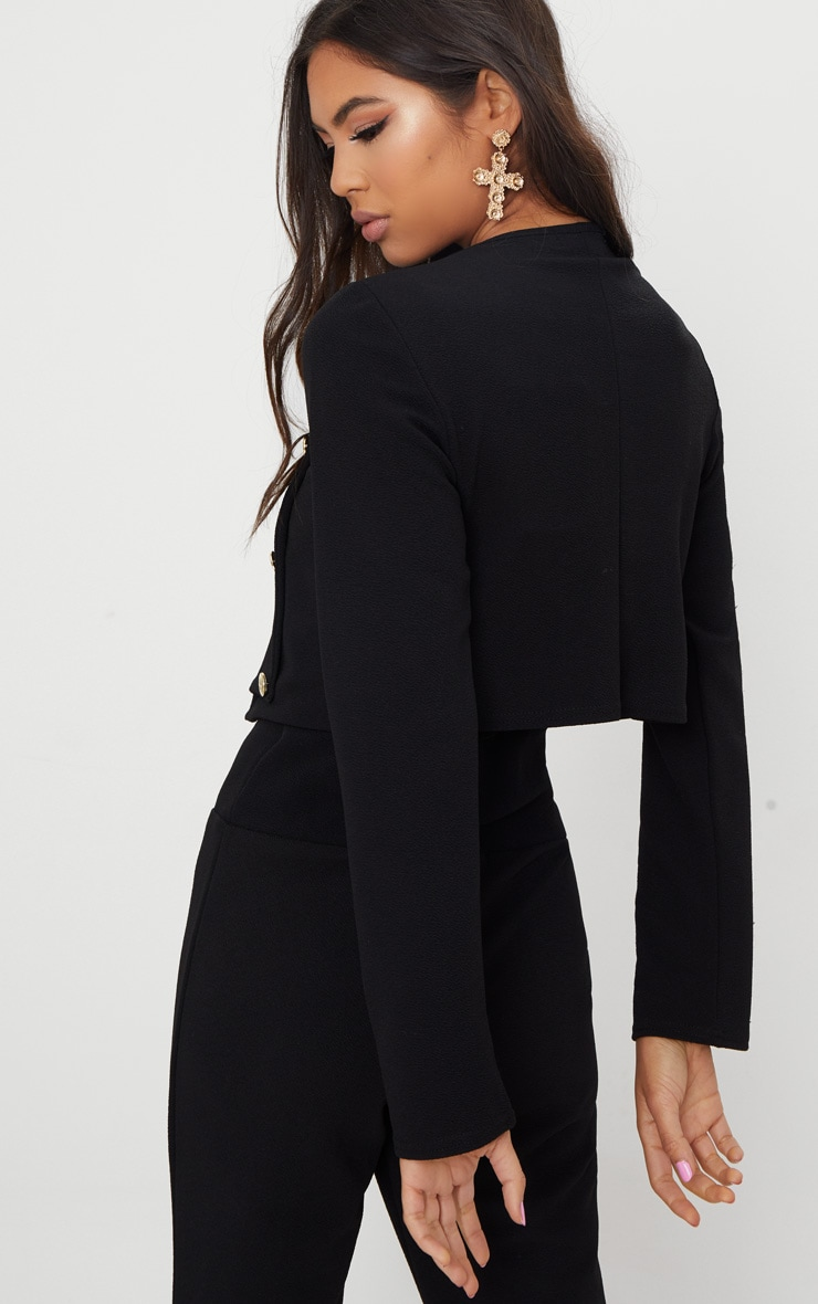Black Military Cropped Jacket  2