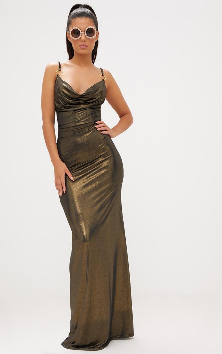 Bronze Metallic Ring Detail Cowl Maxi Dress 2