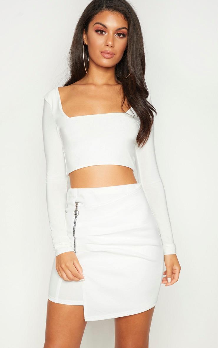 White Zip Detail Mini Skirt