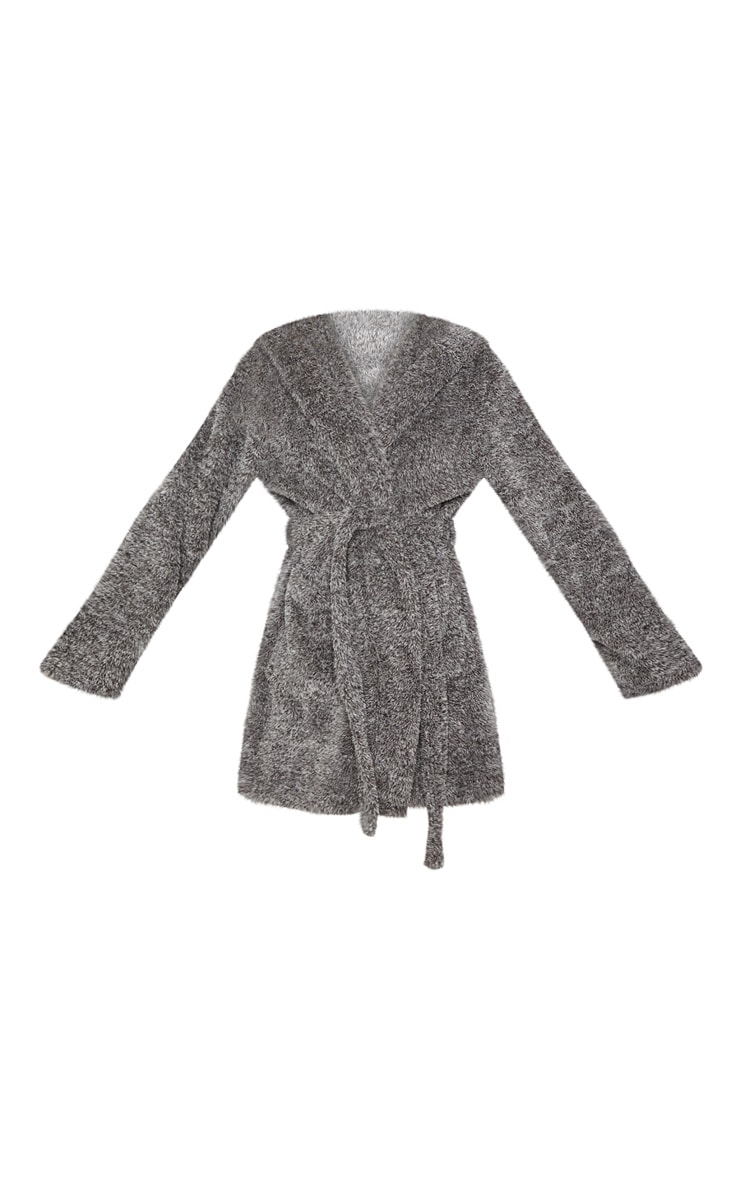 PRETTYLITTLETHING Charcoal Fluffy Dressing Gown 3